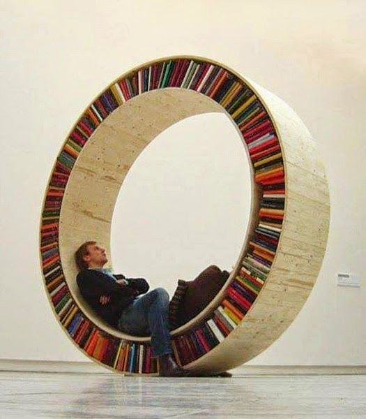 Unique Modern Round Wooden Bookshelves Design Ideas