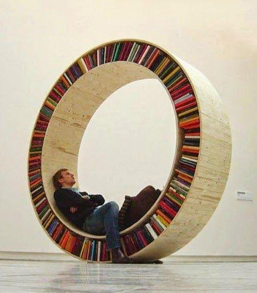 Unique Modern Round Wooden Bookshelves Design Ideas