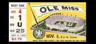 http://www.shop.47straightposters.com/FOOTBALL-ART-LSU-VS-MISSISSIPPI-1956-56LSUMISS.htm Great vintage LSU football poster made from an authentic LSU football ticket from 1956.