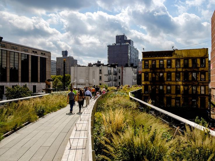 High Line . Not only is the 1.5 mile stretch of elevated park one of the best in New York (or in the world, really), but a lively new neighborhood has sprung up around it, including the elegant new Renzo Piano–designed Whitney Museum and the sleek Standard High Line Hotel, where you can stay in a room with floor-to-ceiling windows or have a drink on the rooftop bar while watching the sun set. LM