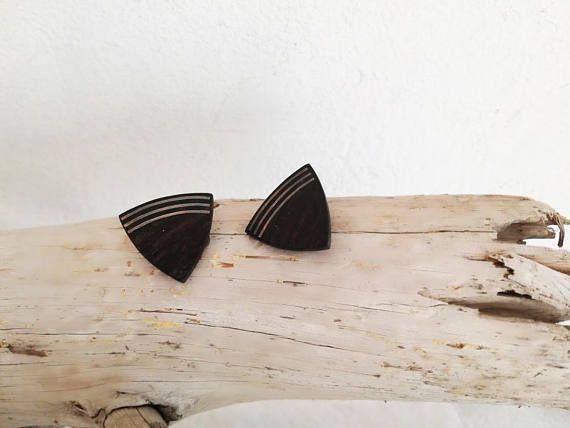 Ebony clip on earrings triangle shaped black sterling silver
