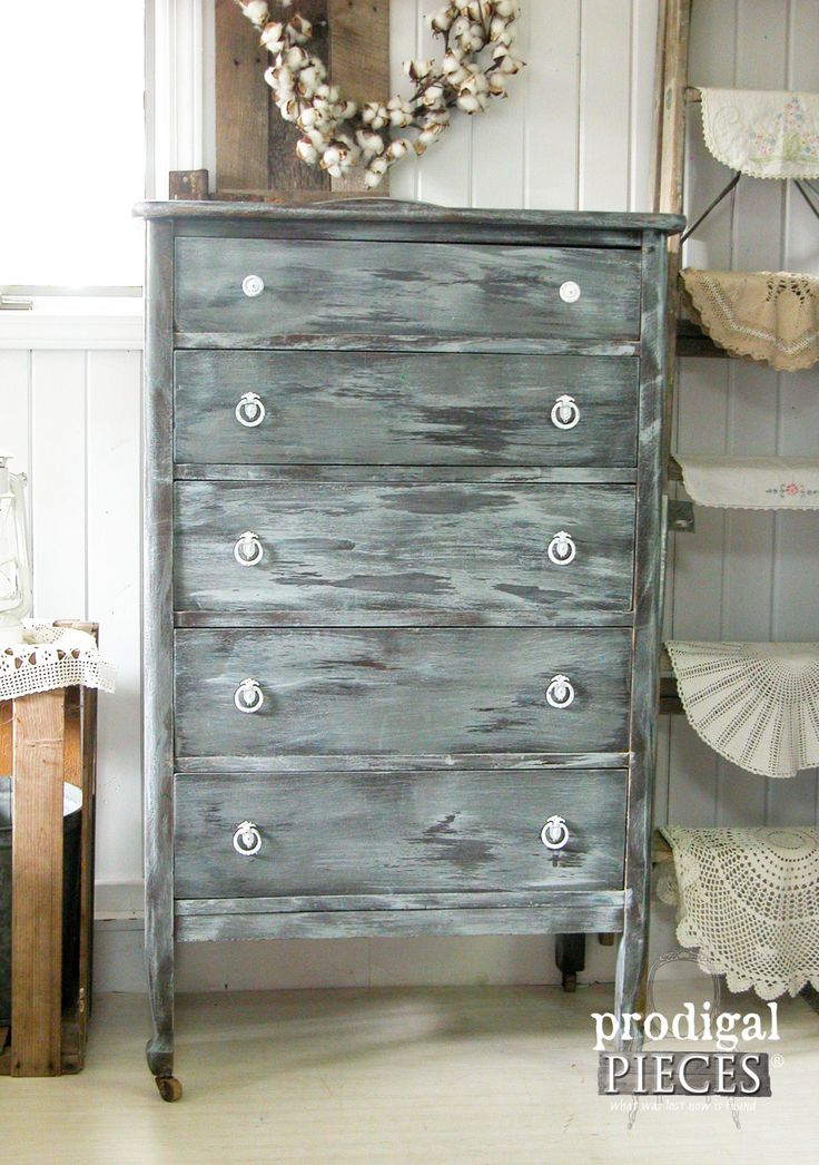 Antique Chest of Drawers Finished with a Wet Distress Technique by Prodigal Pieces | www.prodigalpieces.com