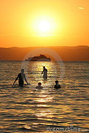 Swimming people in Lake Balaton, hungary