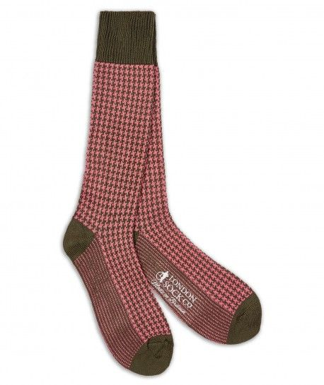 London Sock Company - Houndstooth Pink - SockStyle.co.uk