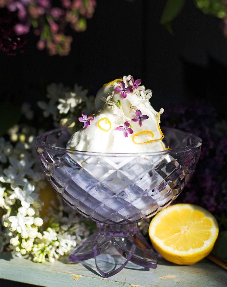 [ Syrénsorbet ] 5 dl vatten / 2½ dl socker / 5 dl vita väldoftande syrener, blommor / 1 citron, saft + skal / lila & vita syrenblommor till dekoration   Koka upp vatten + socker. Dra från plattan, lägg i syrenerna, låt ligga och dra ca 10 min. Sila ifrån blommorna, låt svalna. Blanda ned citronsaft, ställ in i kylskåp tills kallnat. Vispa lagen riktigt fluffig m elvisp. Ställ i frys 15 min. Vispa igen. In i frys, 15 min, vispa en sista gång. Frys minst 1 timme f. servering.
