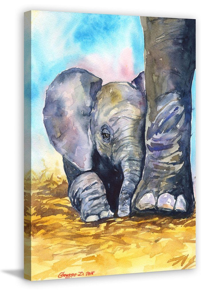 Mother Love - baby elephant nuzzled on leg of Mom. Adorable painting.
