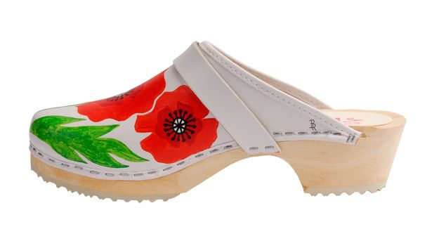 Mrs. T's handpainted clogs, featuring Poppies. These creative clogs are perfect for a day in the garden!