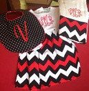 Etsy: Monogrammed chevron reversible bib and burp cloth by ChirpyChicky, $50.00