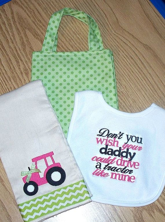 Baby Girl Gift Set / Daddy drive a tractor like mine Bib - Pink Tractor Burp Cloth & Polka Dot Diaper Tote Bag / Personalized on Etsy, $35.00