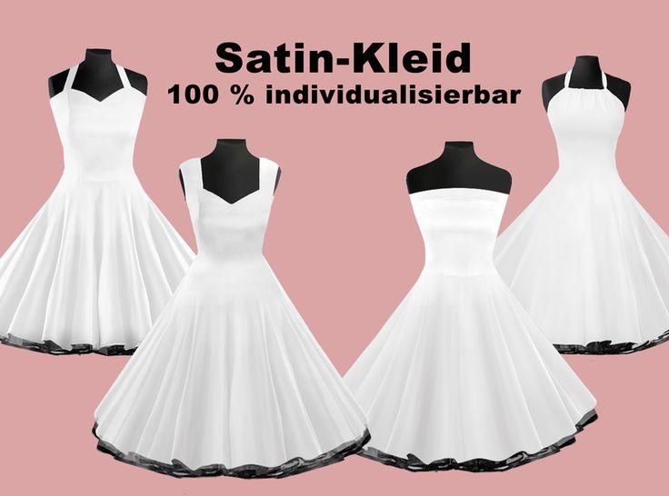 Hochzeitskleider - Hochzeitskleid Petticoatkleid weiß aus Satin - ein Designerstück von Miss-Bobby bei DaWanda