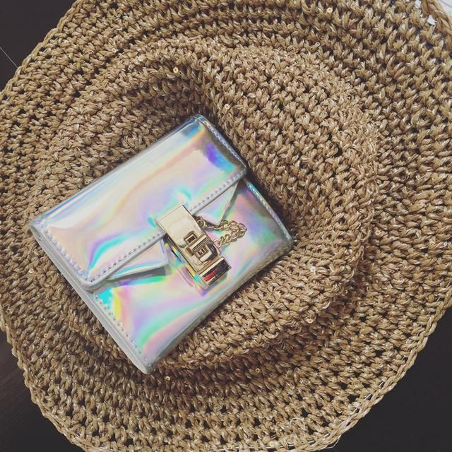 The Accessory Collection: Holographic Purse Wallet with Chain