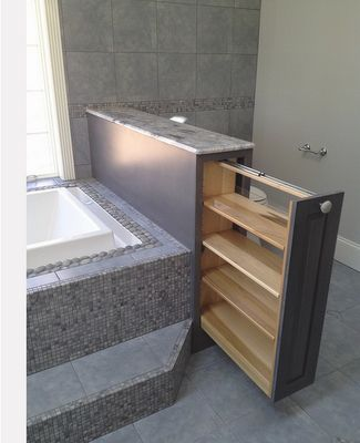 The Tile Shop: Design by Kirsty- Love this half wall with pull out!