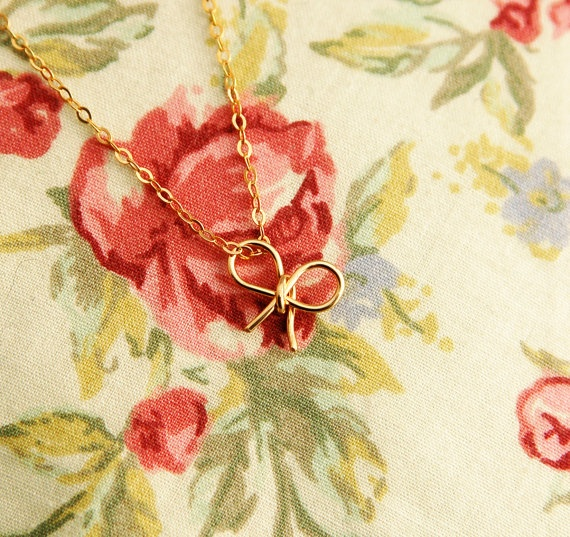 Bow necklace, Gold bow necklace, everyday necklace, bridesmaid necklace - 14k Gold filled. $24.00, via Etsy.