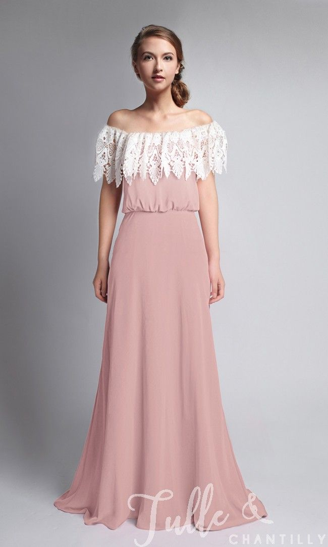 Bohemian 3 in 1 Dusty Pink Lace Covered Backless Bridesmaid Dress TBQP285 click for 40+ colors