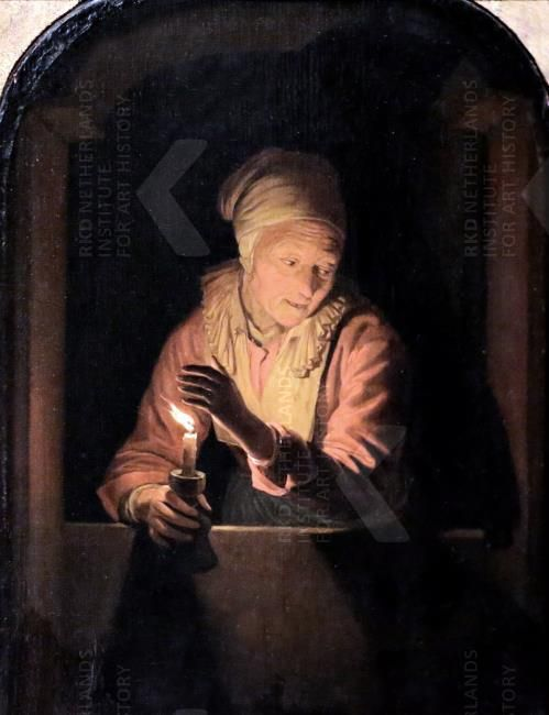 Oude vrouw met kaars. ca. 1660. Kunsthalle, Bremen. Kopie van Gerard Dou: Een oude vrouw met een kaars in een venster. 1661