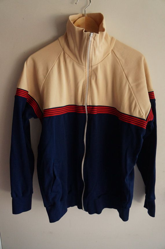 Vintage 70's Tracksuit Top -  Blue / Tan / Red - Medium - FREE SHIPPING (Item T41) Track Jacket Unisex 80s