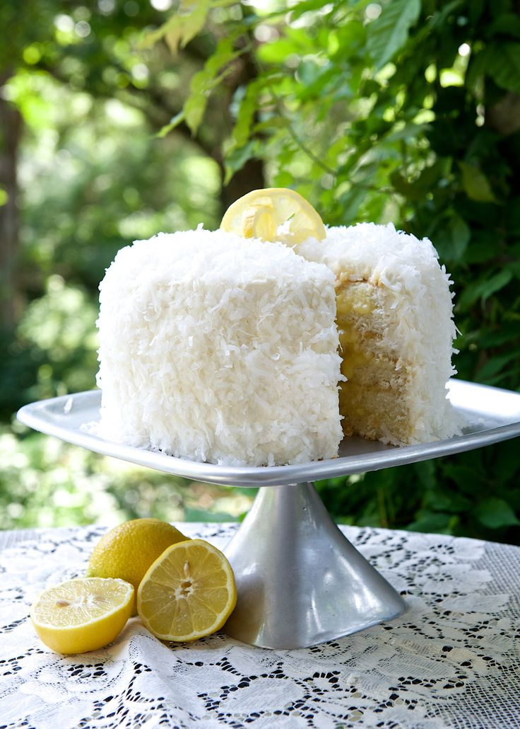 Triple Layer Coconut Cake with Lemon Filling and Seven Minute Frosting