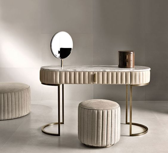 ultra modern dressing table design with upholstered surface  The dressing table is an interior subject, which not only brings elegance to the bedroom but also has an undoubted functional purpose. For many women, it is a favorite pastime. Behind this table beauty is born.