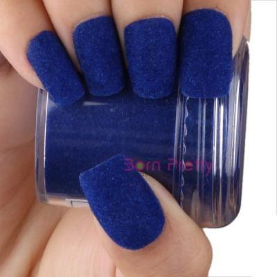 Mock velvet Fun Flocking Powder Manicure Nail Art Nail Polish- Blue