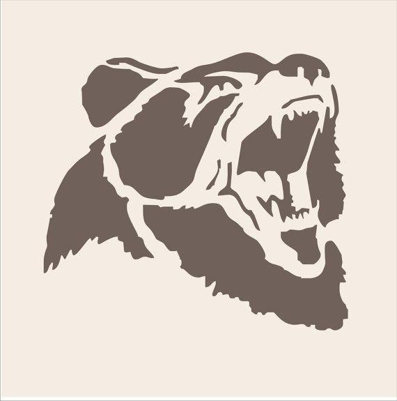GRIZZLY Bear Stencil  4 Sizes Available Create por SuperiorStencils