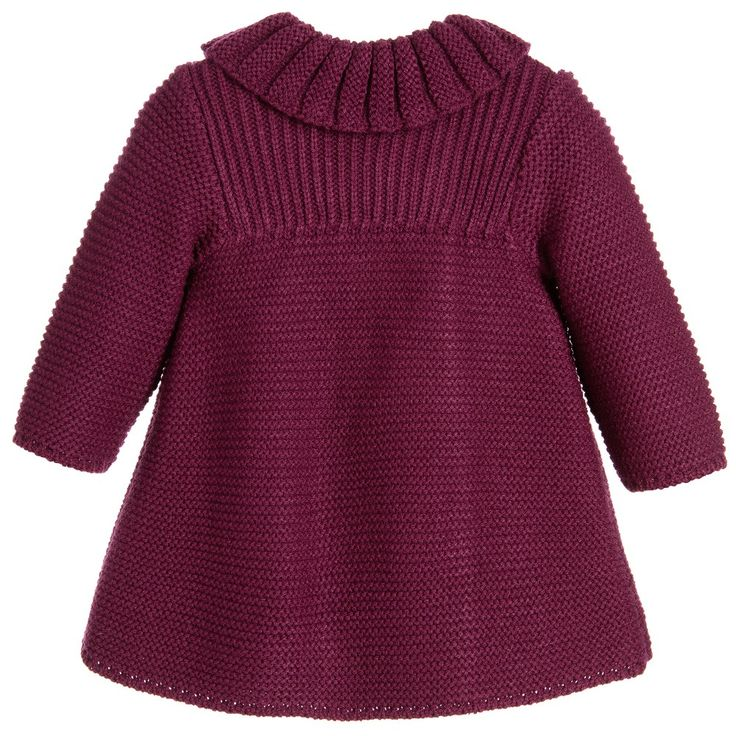 Baby Girls Burgundy Knitted Coat & Bonnet for Girl by Foque. Discover more beautiful designer Coats & Jackets for kids online at Childrensalon.com.