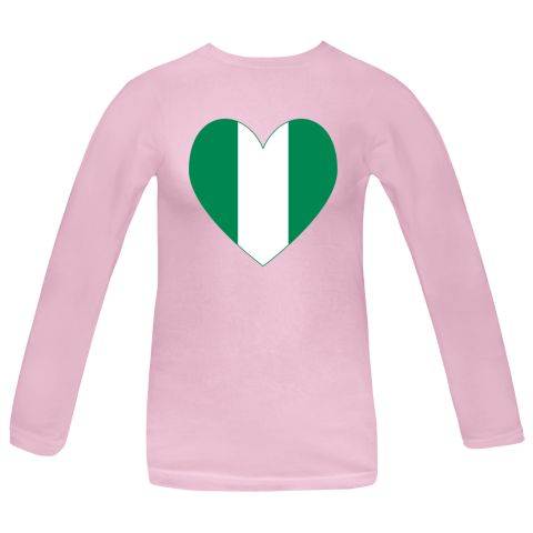 Heart shaped flag of Nigeria with a green border. The Nigerian flag is three vertical stripes. One is white, in the middle, while the other two are on the right and left and are green in color. $27.99 ink.flagnation.com