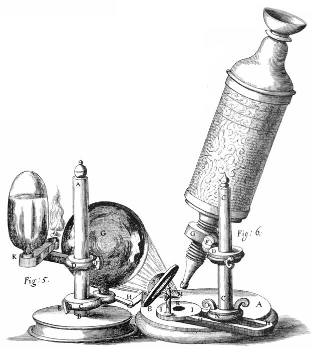 """Micrographia - Robert Hooke's microscope. From Scheme I. of his 1665 Micrographia. On permanent display in """"The Evolution of the Microscope"""" exhibit at the National Museum of Health and Medicine, in Washington, DC."""