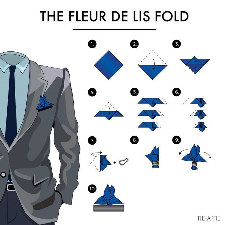 One of 50 fun pocket square folds: The Fleur de Lis fold.