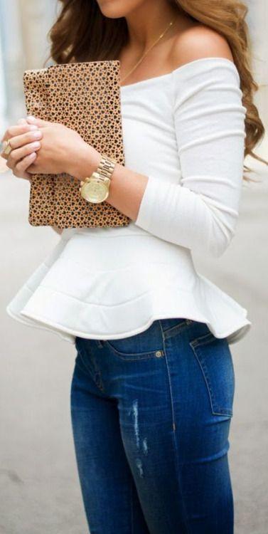 peplum shirt, ripped jeans, clutch, gld watch