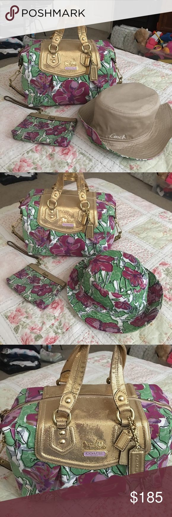Coach Sabrina floral satchel set Sell as a lot 3 pieces of coach Sabrina floral print matching purse sun hat and wristlet will add for free Coach Bags Satchels