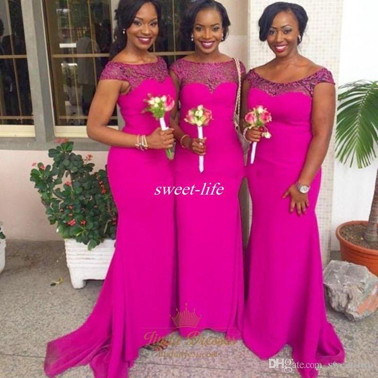 Plus Size Cheap Mermaid Bridesmaid Dresses Fuschia Chiffon Beaded 2016 Maid of…