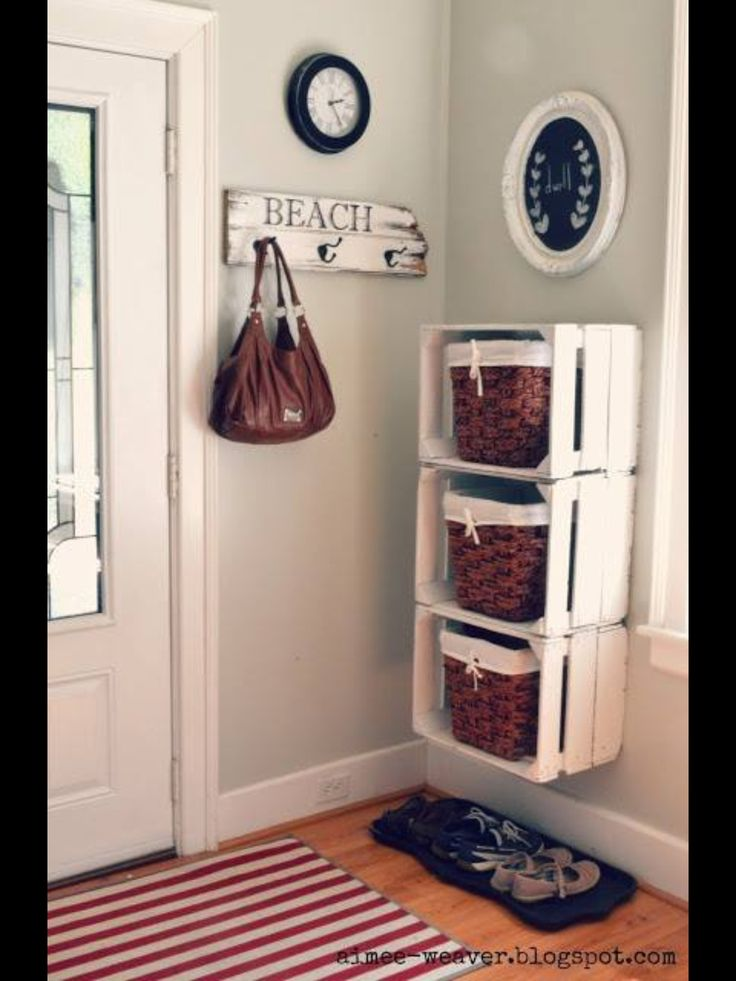 Can do the same thing with plastic crates in a child's rm. Hook for a backpack & jacket in lieu of purse.