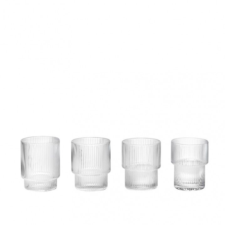 Mouth-blown into the mould, this beautiful set of four glasses and carafe features a rippled design for a contemporary look. Fill with water, juice or your favourite drink and pour into the matching set of glasses for a stylish way to serve.  CARAFE Size: H: 34 x W: 9 cm Can contain: 0.9 L  GLASSES, Set of 4 Size: H: 8.8 x W: 7 cm Can contain: 0.25 L  PRODUCT INFO Colour: Glass Material: Mouth-blown glass Care instructions: Dishwasher Safe Glasses are stackable Carafe is open ...