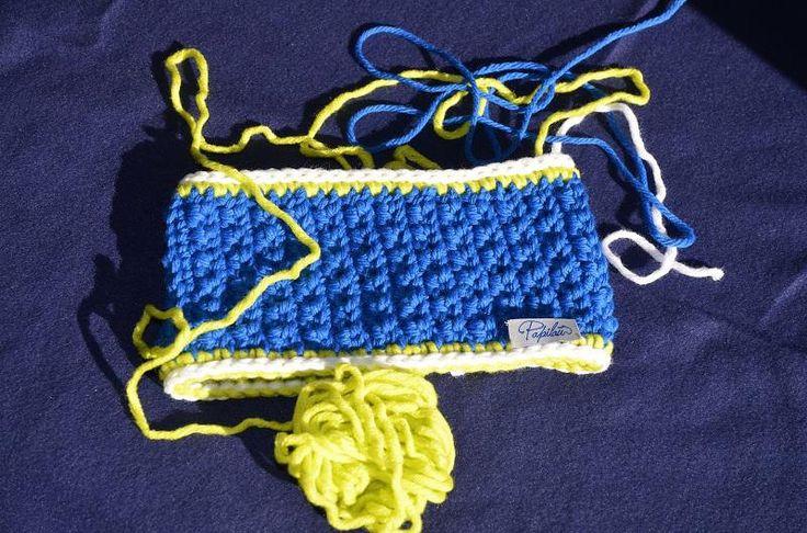 Fascetta blu elettrico con bordino bianco e giallo fluo di Papilau su Etsy