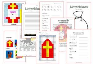Werkbladen Sinterklaas bovenbouw. Husselwoorden, geheimschrift, gedicht schrijven, woordzoeker, honderdtabellen, sommentekening, geheimgrafiek en verlanglijstje maken. Voor ieder wat wils.