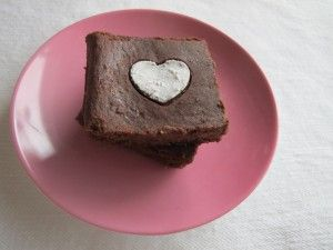 Happy Valentine's Day Flourless Brownies with Berries (uses beans, butter, cocoa, sub sugar for another sweetener)