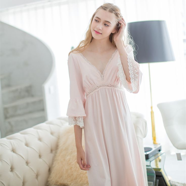 Find More Nightgowns & Sleepshirts Information about Sexy Nightgown Women's Sleep Cotton Nightwear Pink Deep V neck Nightdress Elegant  Lady Sleepwear Vintage Bedgown Soft fabrics,High Quality fabric green,China fabric auction Suppliers, Cheap nightgown cotton from Xiao O store on Aliexpress.com