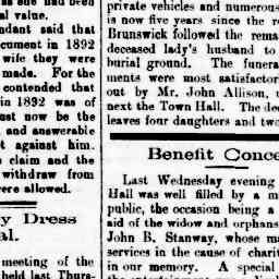 Benefit Concert for the wife and orphans of John B. Stanway - after all his charitable efforts. The Coburg Leader, 2 Nov 1895, p. 1, 'Benefit concert'.