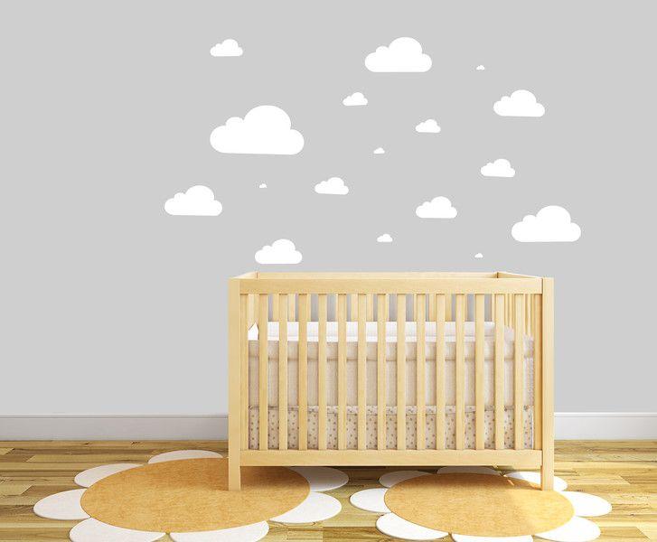 Chmurki - naklejki ścienne (różne rozmiary) - Szare-Kropki - Naklejki na ścianę dla dzieci