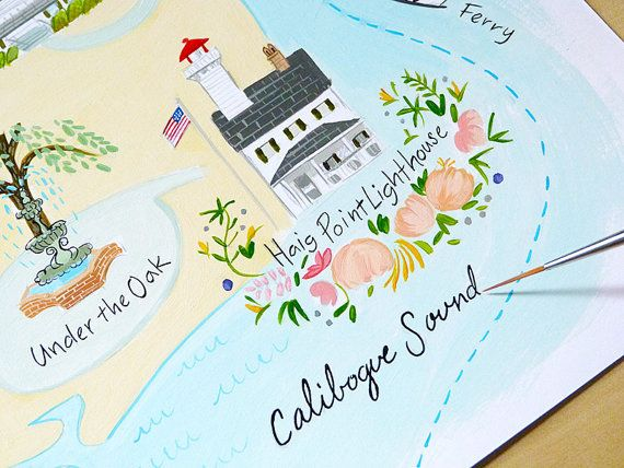Haig Point  Custom illustrated Wedding Map by JollyEdition on Etsy, $7.00