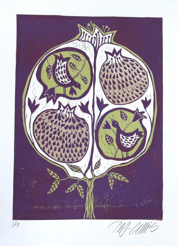 linocut, Pomegranate tree,Purple, Spring green, birds, fruit - Mariann Johansen Ellis