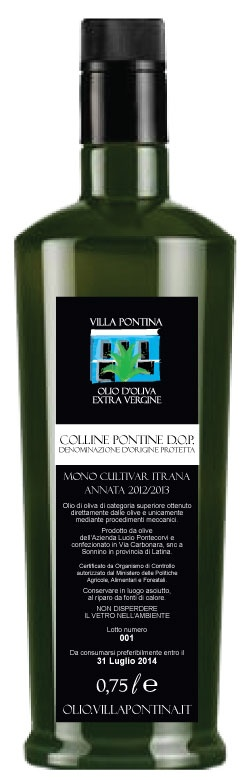 MITdesign per Villa Pontina - Retro etichetta Olio Extra Vergine d'Oliva D.O.P. Villa Pontina / MITdesign for Villa Pontina - Back Label for Extra Virgin Oil D.O.P. Villa Pontina