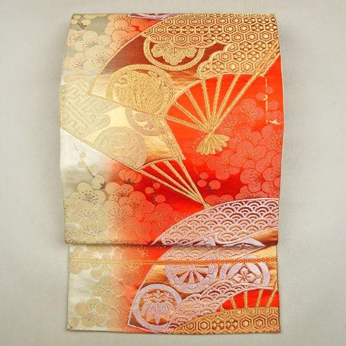 Gold orange, sikl, gradation, fukuro obi / グラデーション地に金銀の扇と花柄が雅な華やかさの袋帯 http://www.rakuten.co.jp/aiyama #Kimono #Japan #aiyamamotoya