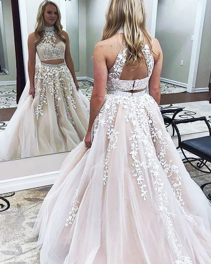 603b5c68b16 Pearl Pink Two Piece High Neck Ball Gown Prom Dress with Appliques ...