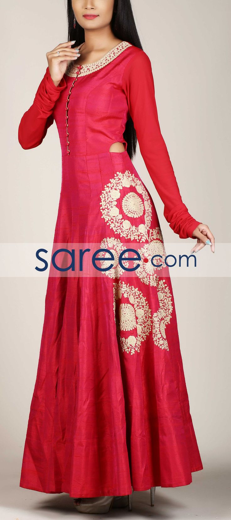 PINK SILK ANARKALI SUIT WITH ZARI WORK