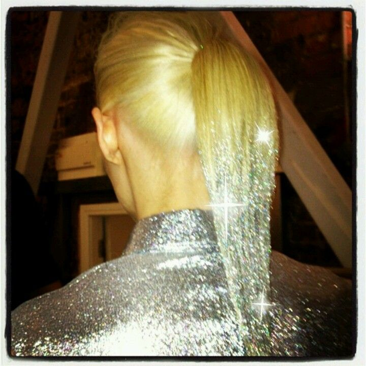 Glitter dipped hair....greean glitter for my best friends red hair, im thinking blue for mine