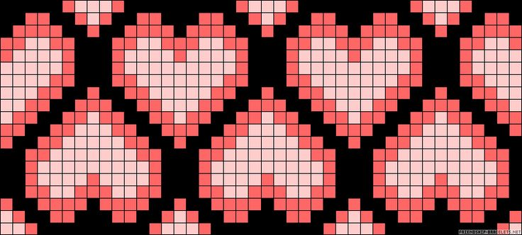 Chained hearts perler bead pattern