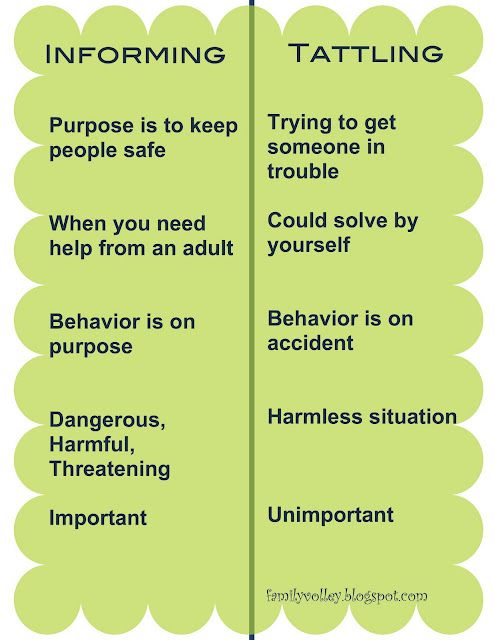 informing vs tattling...a good thing for parents and teachers both to know....