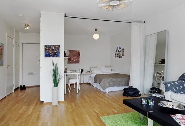 10 Small One Room Apartments Featuring A Scandinavian Décor RAILING