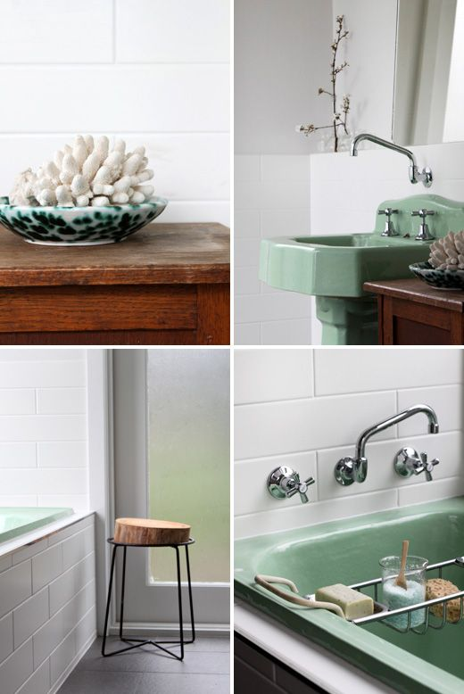 old in new.  i think this might be the way to go, 'vintage' pedestal basin (and bath) in a new bathroom.